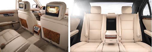 Inside Mercedes S Class, comfort travel for executive chauffeur business travel