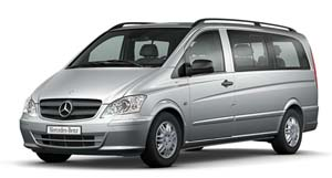 Mercedes Vito Traveliner minibus hire for groups of up to 9 people